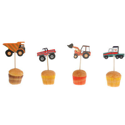 24 pcs Truck Tractor Excavator Dumpers Car Cupcake Decorative Cupcake Topper