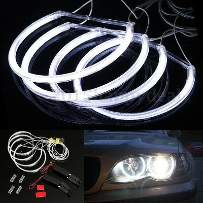 4x CCFL Angel Eye Halo LED Light Set White Non-Projector For BMW E46 3 Series