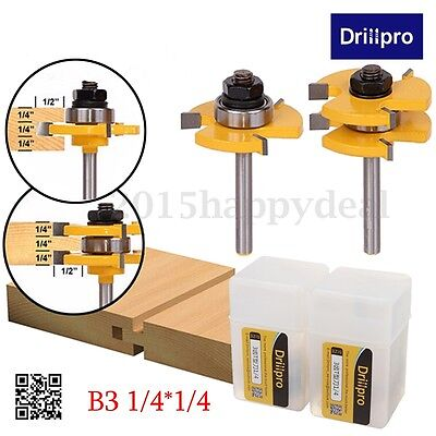 """2PCS Drillpro Tongue & Groove Router Bit 3/4"""" x 1/4"""" Cutter Set For Woodworking"""