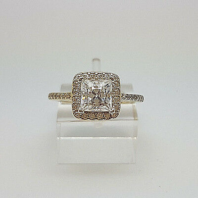 Gorgeous 9ct Gold Princess Cut Centre Cluster Ring.  Goldmine Jewellers.
