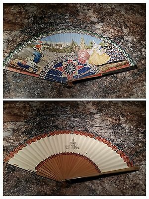 Antique Collectible Larger Hand Painted Hand Fan Paper & Reed Wood