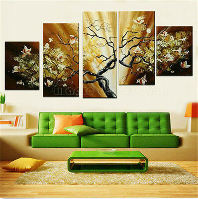 5pc Hand-painted Modern art oil Painting Canvas abstract tree Decor With Framed