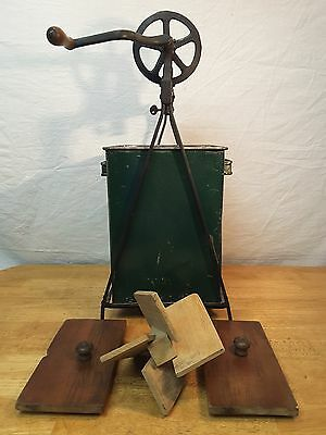 Large Hand Crank Antique Metal Box Wooden Top Butter Churn Tabletop Vintage