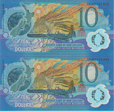 2000 New Zealand Millennium UNCUT PAIR $10 Ten Dollar in Folder UNC =RARE=