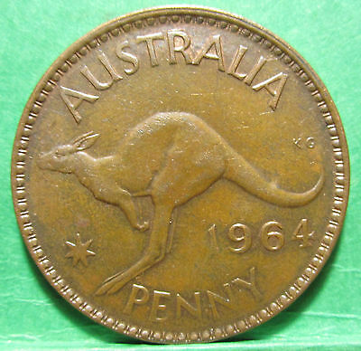 1964 Australia 1d One Penny ** ERROR OFF CENTRE ** #2157 =UNCIRCULATED=