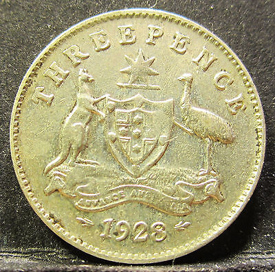 1928 Australia 3d Threepence ** ERROR DIE CRACKS ** #RB328-3 =HIGH GRADE=