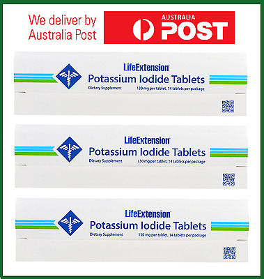 3x Potassium Iodide Tablets, 130 mg, 42 Tabs by Life Extension - AUS STOCK