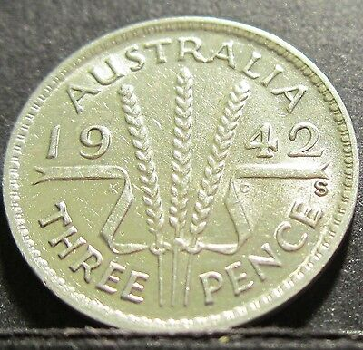 1942 S Australia 3d Threepence ** ERROR DIE CRACK ** #RB342s-1 =HIGH GRADE=