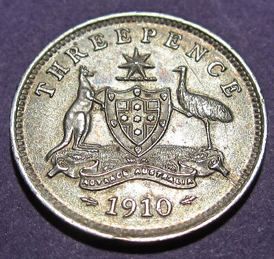 1910 Australia 3d Threepence ** ERROR CRACKS BOTH SIDES ** #1704-02 =HIGH GRADE=