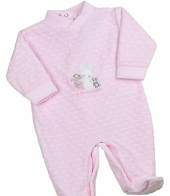 BabyPrem Baby Girls Clothes Velour Sleepsuit Babygrow Jumpsuit Pink NB - 6m
