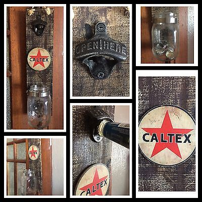 Bottle Opener Caltex Wall Mount Vintage Retro Barware Home Decor Man Cave Gift