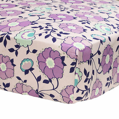 Zoe Purple Floral Print Toddler Fitted Crib Sheet by The Peanut Shell