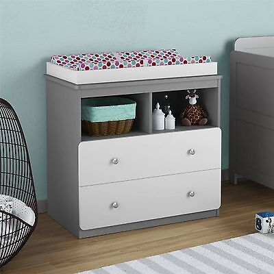 Wooden Infant Baby Changing Table w/ 2 Drawers and 2 Open Shelves, White/Gray