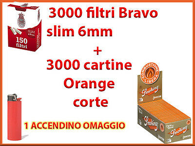 3000 CARTINE SMOKING ARANCIONI CORTE ORANGE + 3000 FILTRI BRAVO SLIM 6 mm