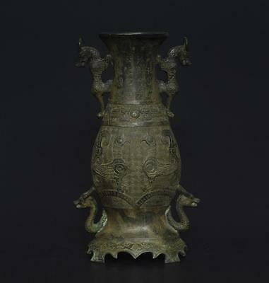 Exquisite Large Antique Chinese Bronze Pot Vase-32cm s234