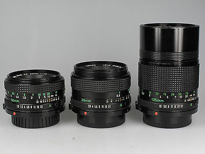 Objektiv Lot Canon Lens FD 2,8 / 28 mm + 3,5 / 135 mm + 1,8 / 50 mm 80706