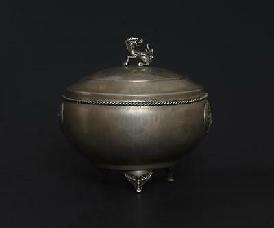 Antique Chinese Silver Tea Caddy Dafuyinlou Mark s263
