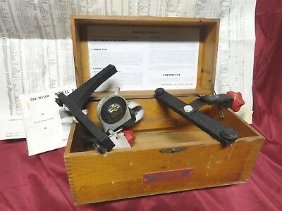 Vintage 1946 WILCO * WHEEL ALIGNMENT POSITIONER w/TOOL CASE  CHART &  MANUAL