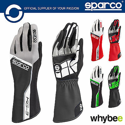 New! 002553 Sparco TRACK KG-3 KG3 Karting Gloves Kart in Sizes 4-13 & 4 Colours!