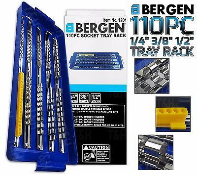 "BERGEN 1/4"" 3/8"" 1/2"" 110 Clip Socket Storage Rails Socket Tray Rack Bit Holder"