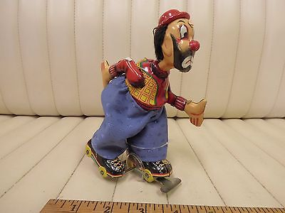 1950s Clown Skater TPS Japan Tin Wind-up Clockwork Toy