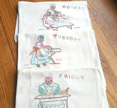 Antique Black Americana Dish Tea Kitchen Towels Cross Stitch Embroidery Ehnic