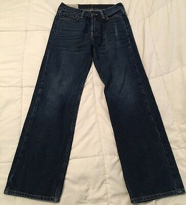 aBERCROMBIE kids size 12 boys classic straight distressed blue denim jeans
