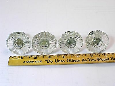 4 Matching Vintage Antique Glass Drawer Cabinet Knobs