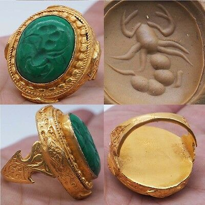 Gold Gilding Intaglio Carved Scorpion Stone Antique Ring #sh196