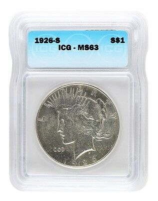 1926-S ICG MS63 Peace Silver Dollar S$1