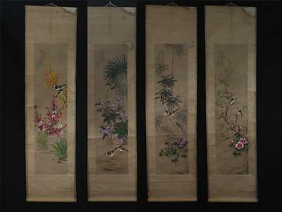Four Chinese Hand-painting Painthing Scroll Gaoqipei Marked Flower&bird s171
