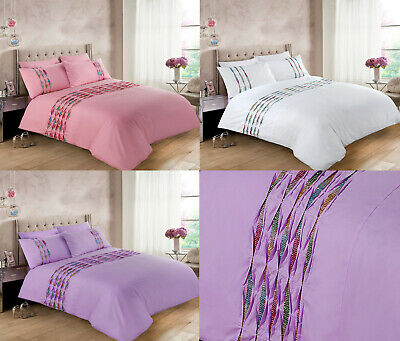Hannah Bedding Duvet Cover Quilt Single Double Super King lilac Pink White