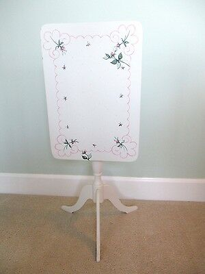 Hand Painted Wooden Table w/ Pivotable Top Pink Roses Green on Off White PRETTY!