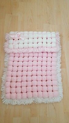 pom pom blanket baby girls pink and white