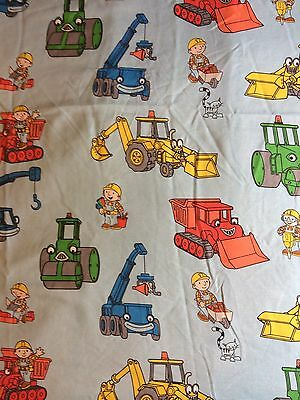 Bob the Builder Blue Bed Twin Flat Sheet Fabric Construction Quilt Material 2001