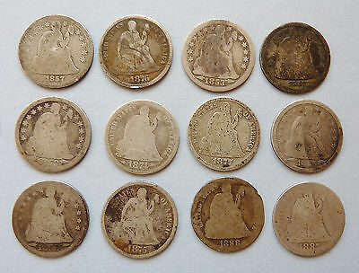 Lot of 12 ~ 1853-1888 SEATED LIBERTY DIMES ~ WITH & W/O ARROWS ~ FAIR CONDITION