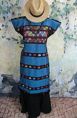 Teal & Multi-Color Amuzgo Huipil Dress Hand woven Mexico Cowgirl Hippie Boho