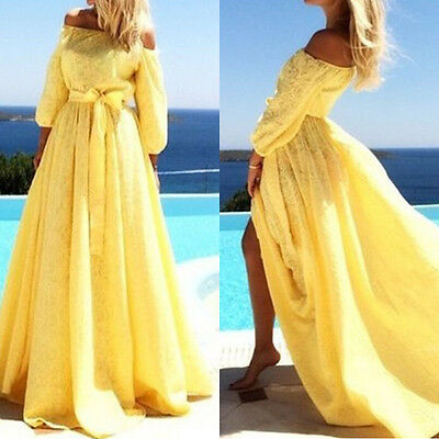 Women Long Lace Dress Formal Prom Evening Party Cocktail Bridesmaid Wedding Gown