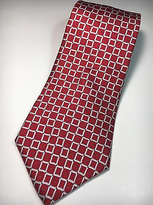 Neck Tie Tommy Hilfiger 100% Silk Made in USA Red Blue Square Geometric Men's