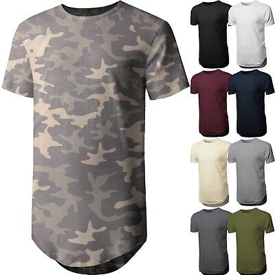 HC Mens BASIC HIPSTER T Shirts Casual Extended Longline Back Hip Hop Hemline Tee