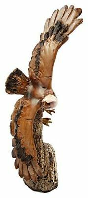 Collectibles =Faux Wood Wildlife Grand Bald Eagle Soaring Over Cliff Figurine
