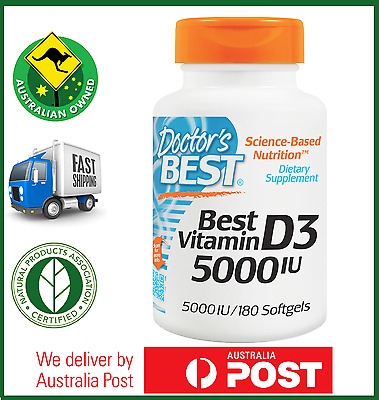 Doctor's Best Vitamin D3 5000 IU 180, 360, 540 or 720 Softgels Available D-3