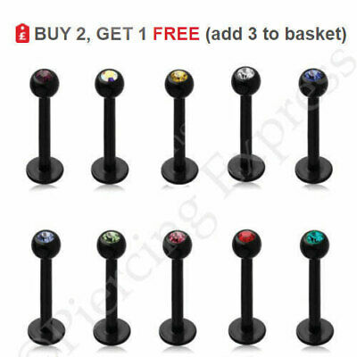 BLACK Labret Stud Lip Bar Monroe Piercing Tragus Steel 6-12mm 16G CRYSTAL Ball