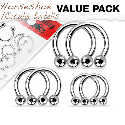 Value Pack Three Pair of Surgical Steel Horseshoes