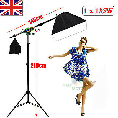Photo Studio 135W Softbox Continuous Lighting Soft Box Boom Arm Light Stand Set