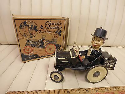 1938 MARX Charlie McCarthy / Benzine Buggy Tin Lithographed Wind Up Car w/ Box