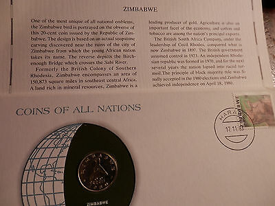 ZIMBABWE 1980 20-CENT COIN - UNC - STAMP  FRANKLIN MINT Coins of Nations
