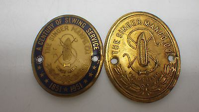 Lot of 2  Antique Vintage Singer Sewing Machine Emblem Logo Name Plates #7