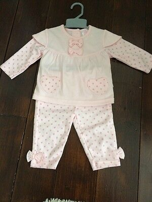 Mini Chic Baby Girl 3-6 Months Pink Outfit Top &  Bottoms Spotty Brand New