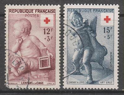 FRANCE - 1955.  Red Cross Fund - Set of 2, Used.  Cat £20+